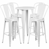 24'' Round White Metal Indoor-Outdoor Bar Table Set with 4 Cafe Barstools [CH-51080BH-4-30CAFE-WH-GG]