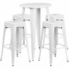24'' Round White Metal Indoor-Outdoor Bar Table Set with 4 Square Seat Backless Barstools [CH-51080BH-4-30SQST-WH-GG]