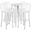 24'' Round White Metal Indoor-Outdoor Bar Table Set with 4 Vertical Slat Back Barstools [CH-51080BH-4-30VRT-WH-GG]