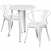 24'' Round White Metal Indoor-Outdoor Table Set with 2 Arm Chairs [CH-51080TH-2-18ARM-WH-GG]