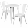24'' Round White Metal Indoor-Outdoor Table Set with 2 Cafe Chairs [CH-51080TH-2-18CAFE-WH-GG]