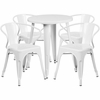 24'' Round White Metal Indoor-Outdoor Table Set with 4 Arm Chairs [CH-51080TH-4-18ARM-WH-GG]