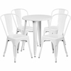 24'' Round White Metal Indoor-Outdoor Table Set with 4 Cafe Chairs [CH-51080TH-4-18CAFE-WH-GG]
