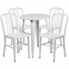24'' Round White Metal Indoor-Outdoor Table Set with 4 Vertical Slat Back Chairs [CH-51080TH-4-18VRT-WH-GG]