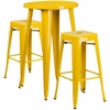 24'' Round Yellow Metal Indoor-Outdoor Bar Table Set with 2 Square Seat Backless Barstools [CH-51080BH-2-30SQST-YL-GG]