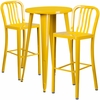 24'' Round Yellow Metal Indoor-Outdoor Bar Table Set with 2 Vertical Slat Back Barstools [CH-51080BH-2-30VRT-YL-GG]