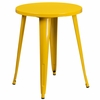 24'' Round Yellow Metal Indoor-Outdoor Table [CH-51080-29-YL-GG]