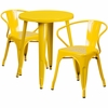 24'' Round Yellow Metal Indoor-Outdoor Table Set with 2 Arm Chairs [CH-51080TH-2-18ARM-YL-GG]
