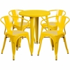 24'' Round Yellow Metal Indoor-Outdoor Table Set with 4 Arm Chairs [CH-51080TH-4-18ARM-YL-GG]