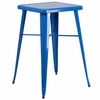 23.75'' Square Blue Metal Indoor-Outdoor Bar Height Table [CH-31330-BL-GG]
