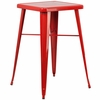 23.75'' Square Red Metal Indoor-Outdoor Bar Height Table [CH-31330-RED-GG]