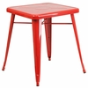 23.75'' Square Red Metal Indoor-Outdoor Table [CH-31330-29-RED-GG]