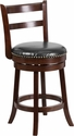 26'' High Cappuccino Wood Counter Height Stool with Black Leather Swivel Seat [TA-16026-CA-GG]
