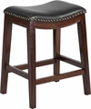 26'' High Backless Cappuccino Wood Counter Height Stool with Black Leather Seat [TA-411026-CA-GG]