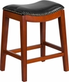 26'' High Backless Light Cherry Wood Counter Height Stool with Black Leather Seat [TA-411026-LC-GG]
