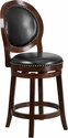 26'' High Cappuccino Counter Height Wood Barstool with Black Leather Swivel Seat [TA-550126-CA-GG]