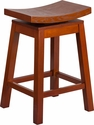 26'' High Saddle Seat Light Cherry Wood Counter Height Stool with Auto Swivel Seat Return [TA-SADDLE-LC-2-GG]