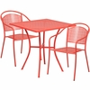 28'' Square Coral Indoor-Outdoor Steel Patio Table Set with 2 Round Back Chairs [CO-28SQ-03CHR2-RED-GG]