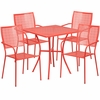 28'' Square Coral Indoor-Outdoor Steel Patio Table Set with 4 Square Back Chairs [CO-28SQ-02CHR4-RED-GG]