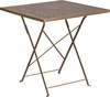 28'' Square Gold Indoor-Outdoor Steel Folding Patio Table [CO-1-GD-GG]