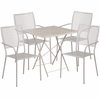 28'' Square Light Gray Indoor-Outdoor Steel Folding Patio Table Set with 4 Square Back Chairs [CO-28SQF-02CHR4-SIL-GG]