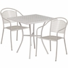 28'' Square Light Gray Indoor-Outdoor Steel Patio Table Set with 2 Round Back Chairs [CO-28SQ-03CHR2-SIL-GG]