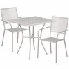 28'' Square Light Gray Indoor-Outdoor Steel Patio Table Set with 2 Square Back Chairs [CO-28SQ-02CHR2-SIL-GG]