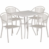 28'' Square Light Gray Indoor-Outdoor Steel Patio Table Set with 4 Round Back Chairs [CO-28SQ-03CHR4-SIL-GG]