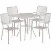 28'' Square Light Gray Indoor-Outdoor Steel Patio Table Set with 4 Square Back Chairs [CO-28SQ-02CHR4-SIL-GG]