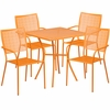 28'' Square Orange Indoor-Outdoor Steel Patio Table Set with 4 Square Back Chairs [CO-28SQ-02CHR4-OR-GG]