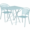 28'' Square Sky Blue Indoor-Outdoor Steel Folding Patio Table Set with 2 Round Back Chairs [CO-28SQF-03CHR2-SKY-GG]