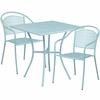 28'' Square Sky Blue Indoor-Outdoor Steel Patio Table Set with 2 Round Back Chairs [CO-28SQ-03CHR2-SKY-GG]