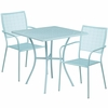 28'' Square Sky Blue Indoor-Outdoor Steel Patio Table Set with 2 Square Back Chairs [CO-28SQ-02CHR2-SKY-GG]