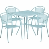 28'' Square Sky Blue Indoor-Outdoor Steel Patio Table Set with 4 Round Back Chairs [CO-28SQ-03CHR4-SKY-GG]