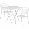 28'' Square White Indoor-Outdoor Steel Folding Patio Table Set with 2 Round Back Chairs [CO-28SQF-03CHR2-WH-GG]