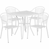 28'' Square White Indoor-Outdoor Steel Patio Table Set with 4 Round Back Chairs [CO-28SQ-03CHR4-WH-GG]