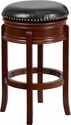 29'' High Backless Light Cherry Wood Barstool with Black Leather Swivel Seat [TA-68829-LC-GG]
