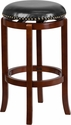 29'' High Backless Light Cherry Wood Barstool with Black Leather Swivel Seat [TA-68929-LC-GG]