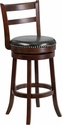 30'' High Cappuccino Wood Barstool with Black Leather Swivel Seat [TA-16029-CA-GG]