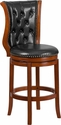 30'' High Brandy Wood Barstool with Black Leather Swivel Seat [TA-2301230-B-GG]