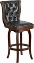 30'' High Cappuccino Wood Barstool with Black Leather Swivel Seat [TA-240130-CA-GG]