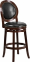 30'' High Cappuccino Wood Barstool with Black Leather Swivel Seat [TA-550130-CA-GG]