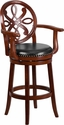 30'' High Cherry Wood Barstool with Arms and Black Leather Swivel Seat [TA-550230-CHY-GG]