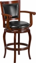 30'' High Cherry Wood Barstool with Black Leather Swivel Seat [TA-21259-CHY-GG]