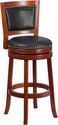 30'' High Dark Cherry Wood Barstool with Walnut Leather Swivel Seat [TA-355530-DC-GG]