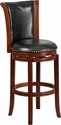 30'' High Dark Chestnut Wood Barstool with Black Leather Swivel Seat [TA-220130-DC-GG]