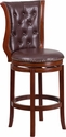 30'' High Dark Chestnut Wood Barstool with Hepatic Leather Swivel Seat [TA-2301230-DC-GG]