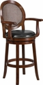 30'' High Expresso Wood Barstool with Arms and Black Leather Swivel Seat [TA-550430-E-GG]