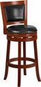 30'' High Light Cherry Wood Barstool with Black Leather Swivel Seat [TA-355530-LC-GG]