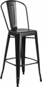 30'' High Matte Black Metal Indoor-Outdoor Barstool with Back [CH-30STOOL-BK-GG]